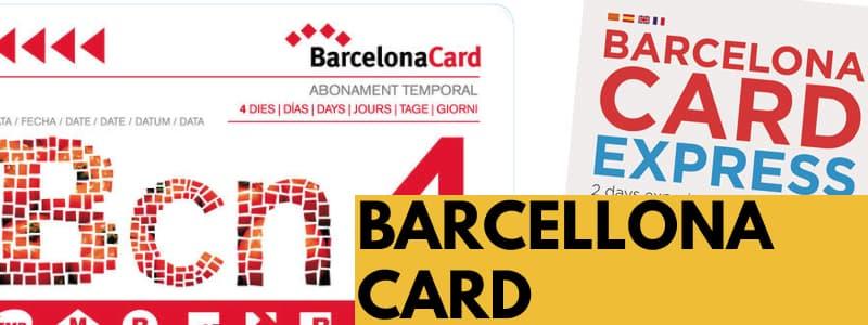 Immagine con Barcelona Card e Barcelona Express Card una accanto all'altra e rettangolo arancione con scritta nera Barcelona Card