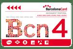Carta turistica Barcelona Card da 4 giorni rossa e bianca su sfondo trasparente