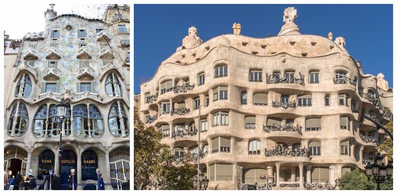 Collage di 2 foto con a sinistra la fotografia di Casa Batlló ed a destra casa Milà, due edifici progettati da Antoni Gaudì