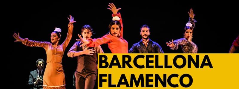 Fotografia di alcuni ballerini di Flamenco su sfondo nero con rettangolo arancione in basso a destra con scritta nera Barcellona Flamenco