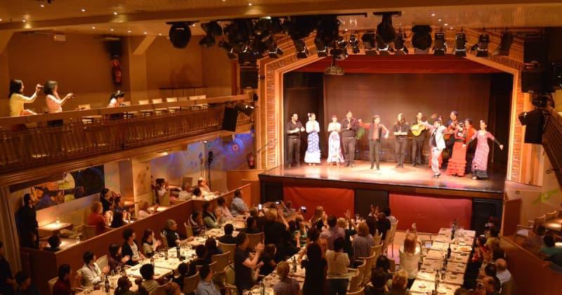 Fotografia dall'alto dell'interno del locale Palacio del Flamenco a Barcellona