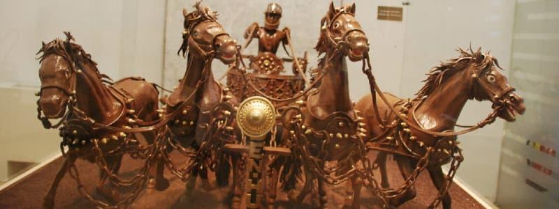 Fotografia di un carro con cavalli in cioccolato conservato nel Museo della cioccolata a Barcellona